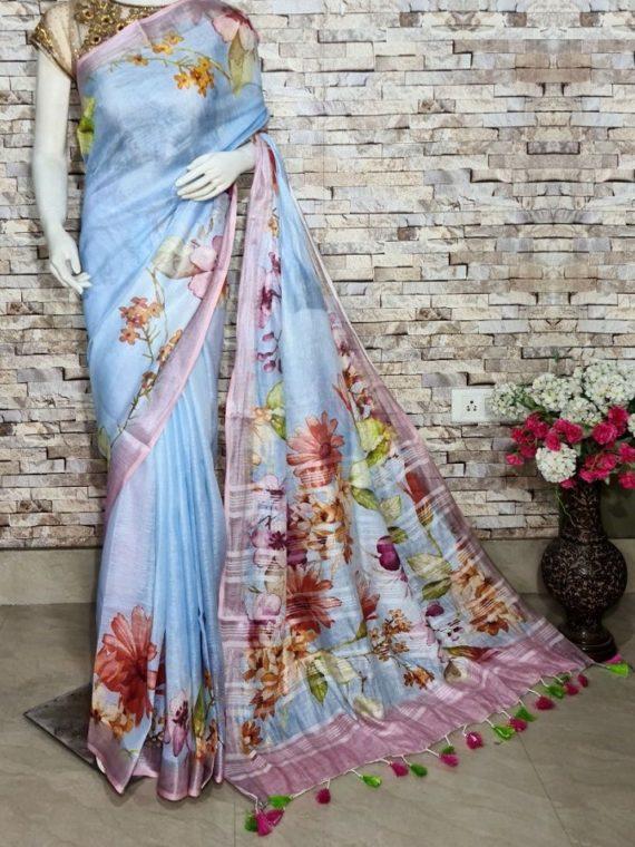 Alluring Sky Blue Floral Design Digital Print Linen Saree