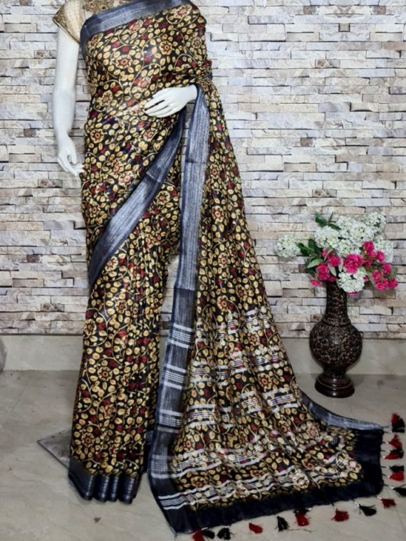 Black Floral Design Digital Print Linen Saree