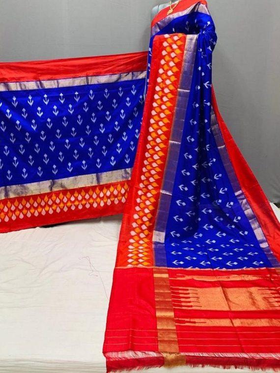 Classic Blue Red Fusion Pochampally Ikkat Silk Saree