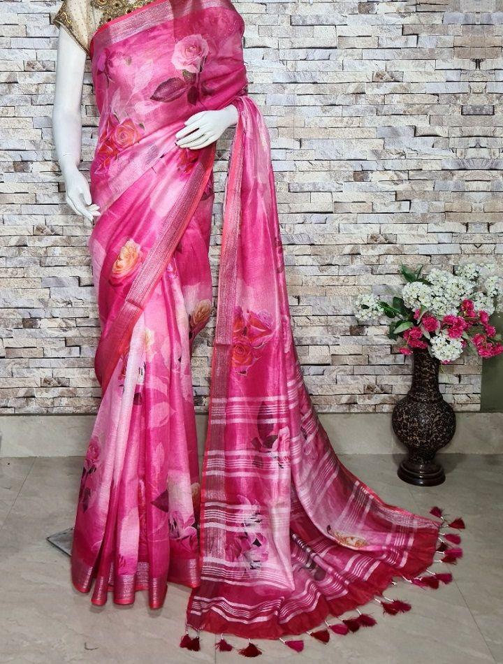 Dark Pink Floral Design Digital Print Linen Saree
