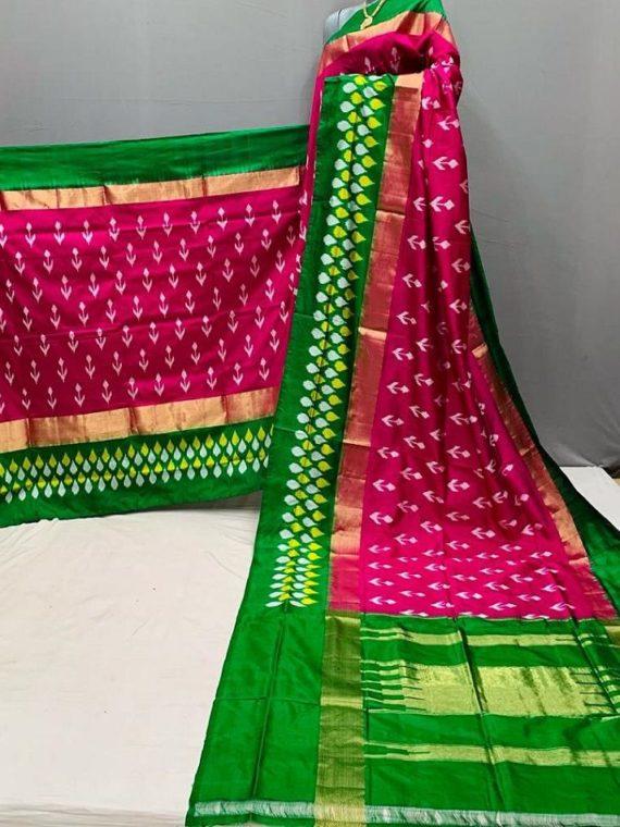 Dazzling Dark Pink Green Fusion Pochampally Ikkat Silk Saree