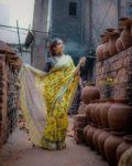 Loomfolks Digital print linen sarees