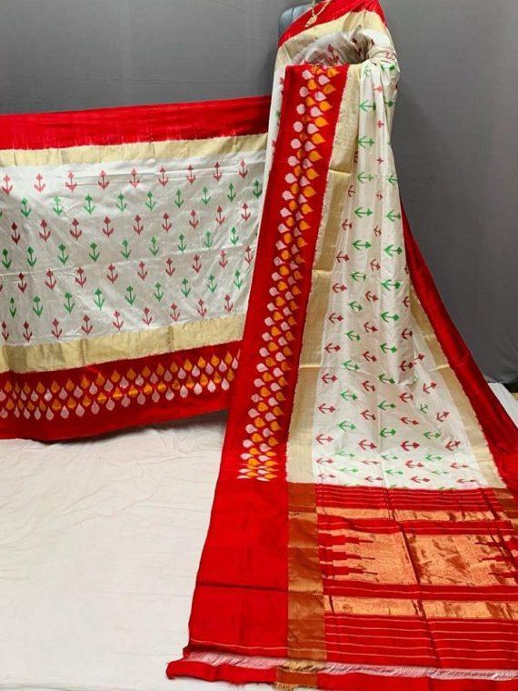 Divine White Red Fusion Pochampally Ikkat Silk Saree