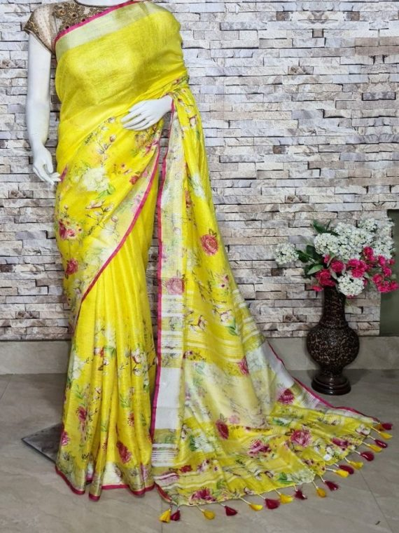 Lemon Yellow Floral Design Digital Print Linen Saree