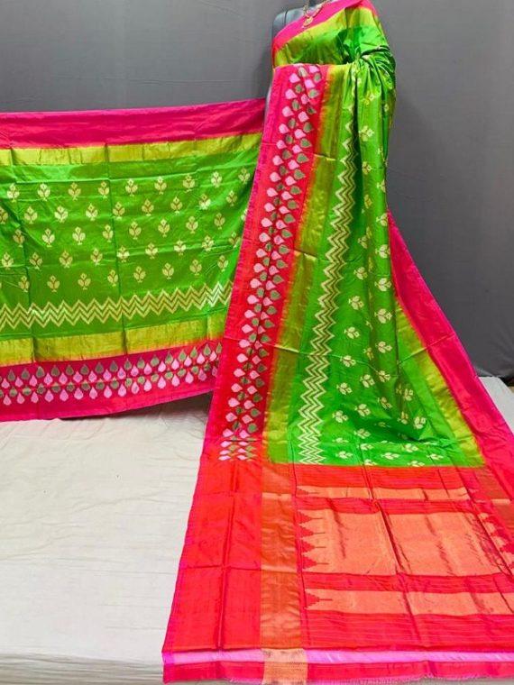 Light Green Pink Fusion Pochampally Ikkat Silk Saree