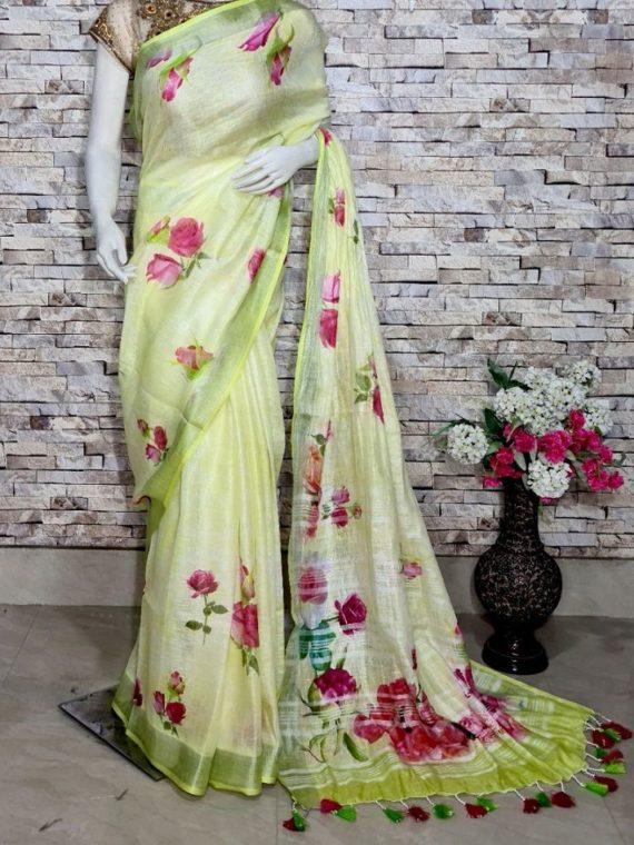 Light Yellow Rose Design Digital Print Linen Saree
