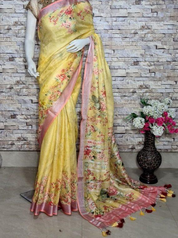 Mango Yellow Floral Design Digital Print Linen Saree