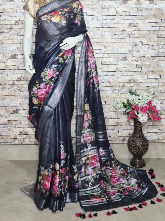Mesmerizing Black Floral Design Digital Print Linen Saree
