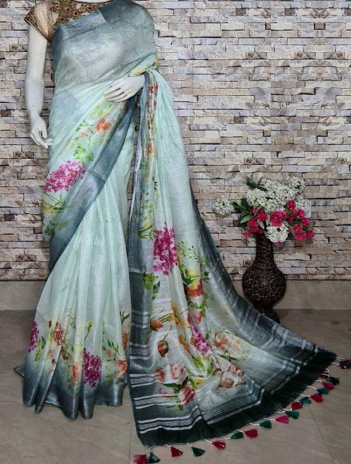Ocean Blue Floral Design Digital Print Linen Saree