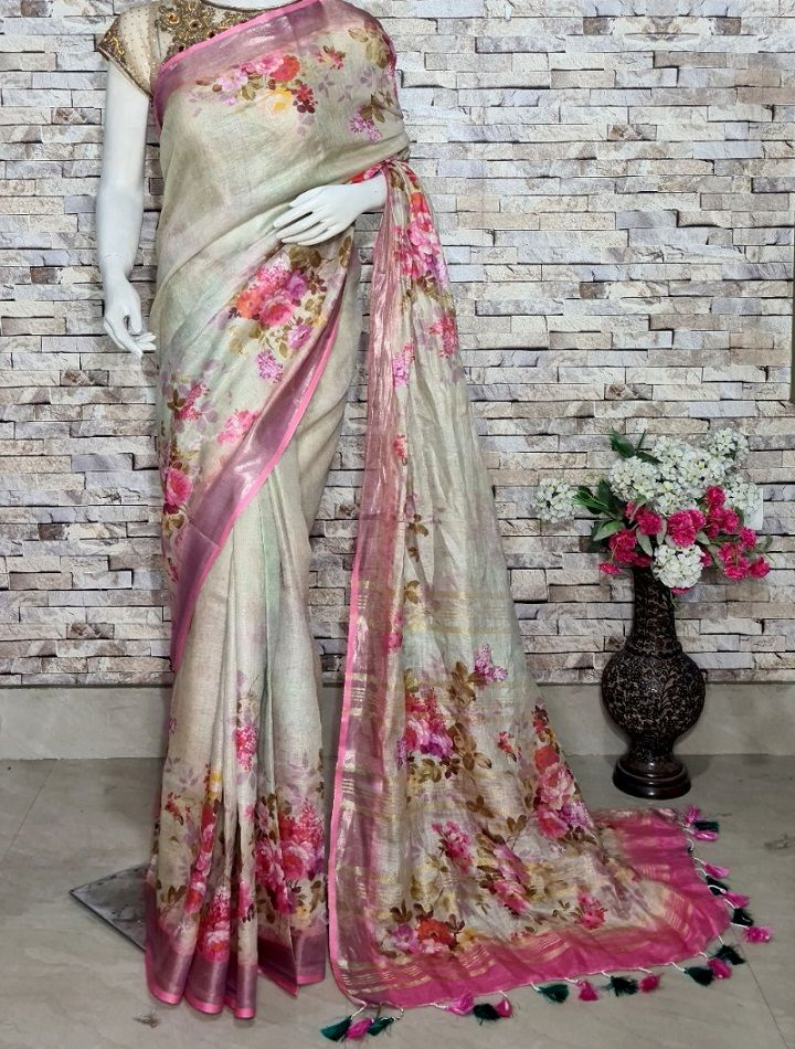 Offwhite Floral Design Digital Print Linen Saree With Pink Border