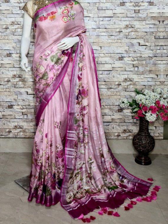 Peach Pink Floral Design Digital Print Linen Saree
