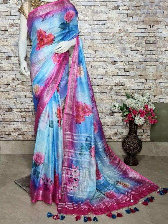 Sky Blue Floral Design Digital Print Linen Saree With Pink Border