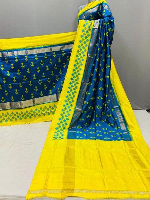 Stunning Blue Yellow Fusion Pochampally Ikkat Silk Saree