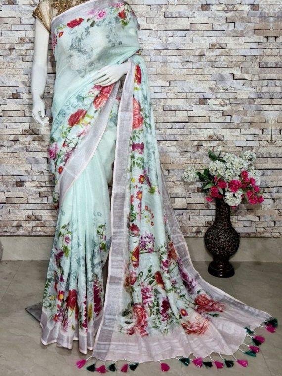Stunning Sea Green Floral Design Digital Print Linen Saree