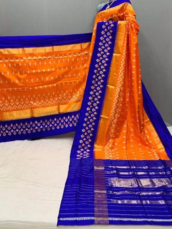 Subtle Orange Blue Fusion Pochampally Ikkat Silk Saree