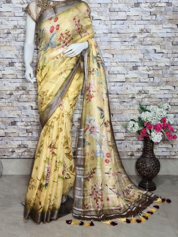 Subtle Yellow Floral Design Digital Print Linen Saree