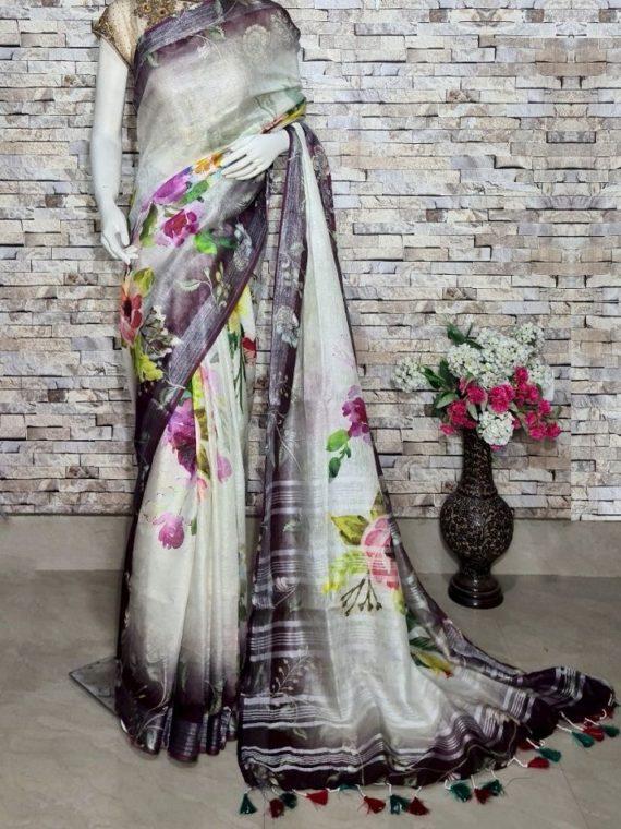 White Black Blend Floral Design Digital Print Linen Saree