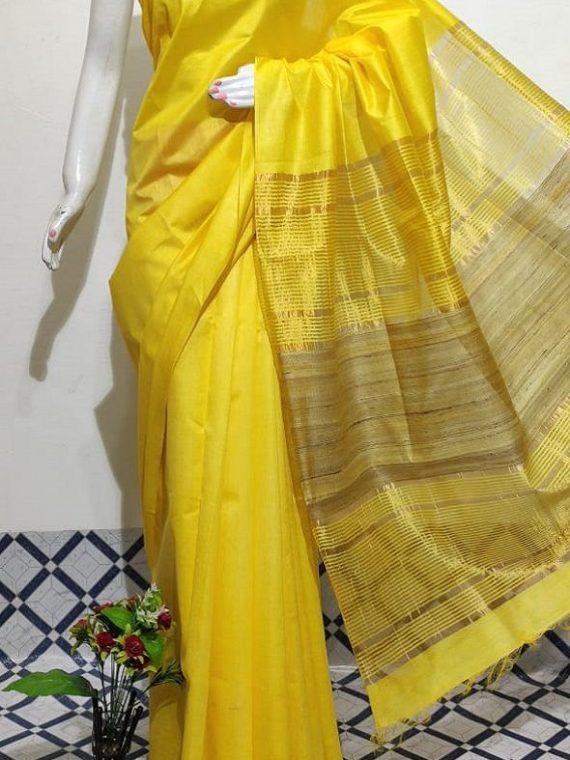 Bright Yellow Handwoven Mulberry Staple Silk Saree With Chiccha Pallu