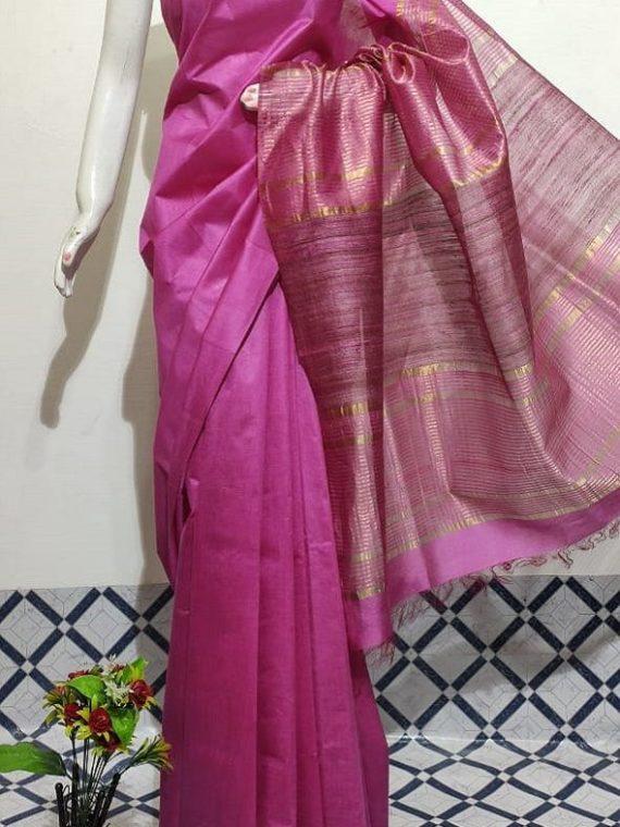 Dark Pink Handwoven Mulberry Staple Silk Saree With Chiccha Pallu
