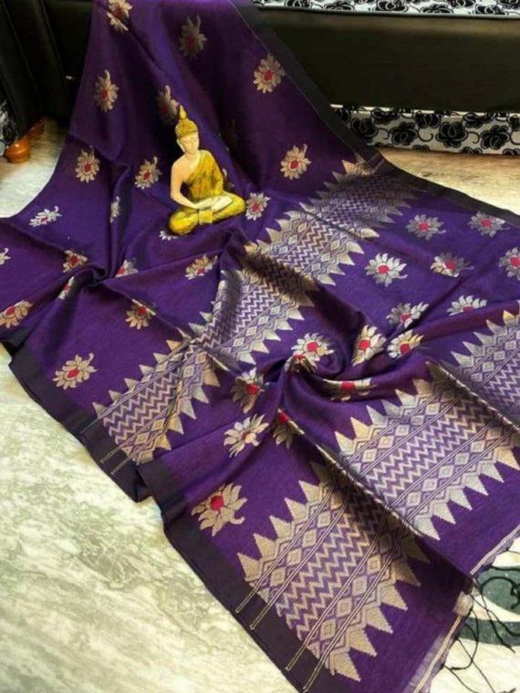 Dark Violet Lotus Design Handwoven Linen Saree