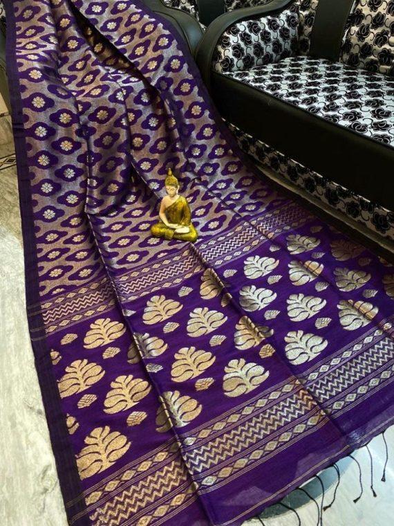 Elegant Violet Handwoven Cotton Linen Floral Jamdani Saree