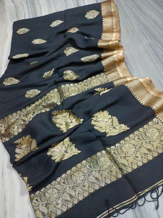Enticing Black Linen Handloom Saree with Banarsi Design