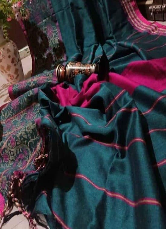 Glamorous Peacock Blue Begumpuri Design Cotton Saree