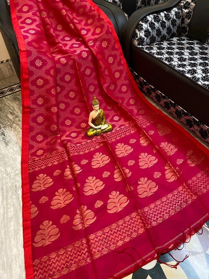Gorgeous Dark Pink Handwoven Cotton Linen Floral Jamdani Saree