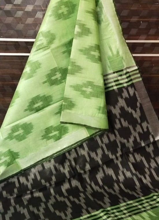 Green Ikkat Weave Pure Cotton Saree With Silver Border