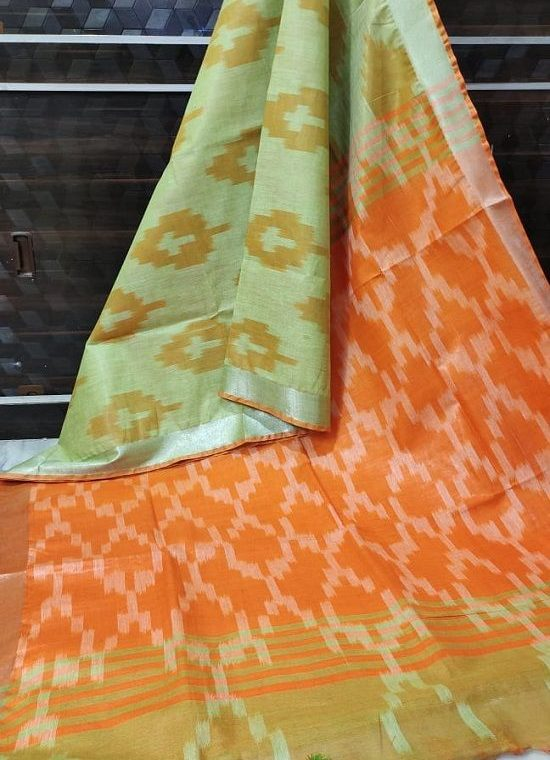 Green Orange Fusion Ikkat Weave Pure Cotton Saree With Silver Border