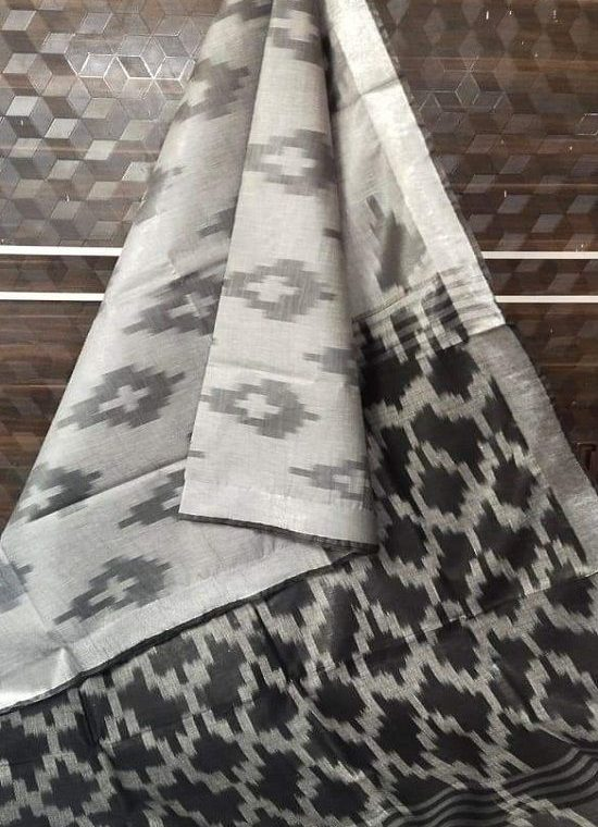Grey Black Fusion Ikkat Weave Pure Cotton Saree With Silver Border