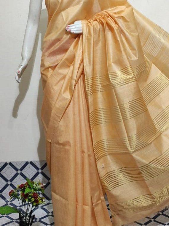 Light Orange Peach Handwoven Mulberry Staple Silk Saree With Chiccha Pallu
