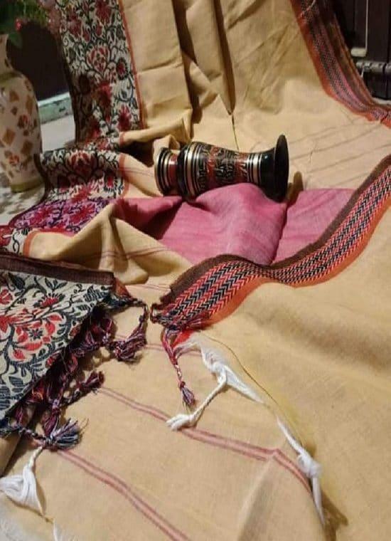 Light SandalWood Begumpuri Design Cotton Saree