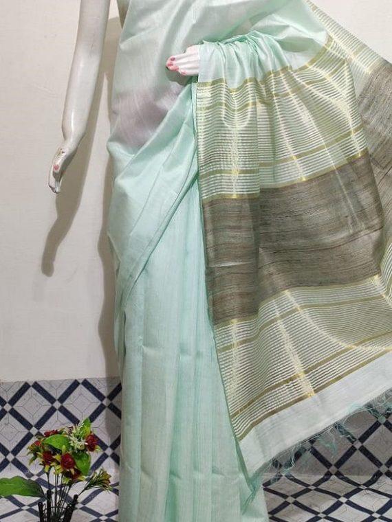 Light Sea Green Handwoven Mulberry Staple Silk Saree With Chiccha Pallu