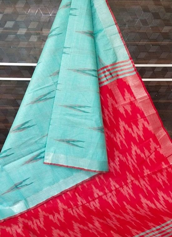 Ocean Blue Red Fusion Ikkat Weave Pure Cotton Saree With Silver Border