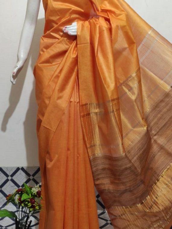 Orange Handwoven Mulberry Staple Silk Saree With Chiccha Pallu