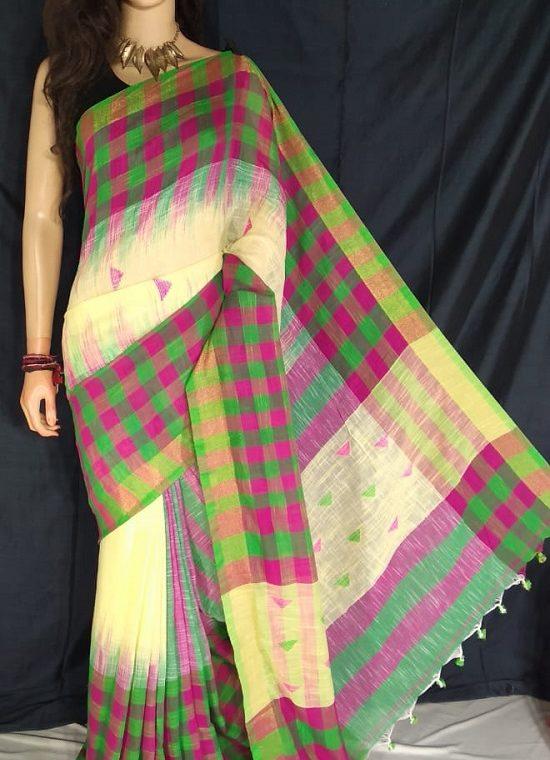Pink Green Check Border Yellow Cotton Saree