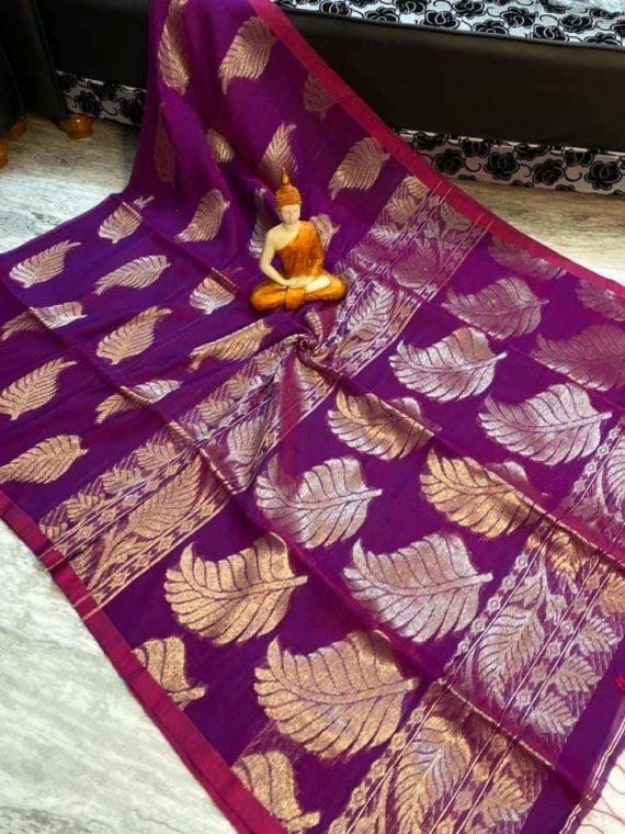 Pretty Purple Leaf Design Cotton Linen Saree