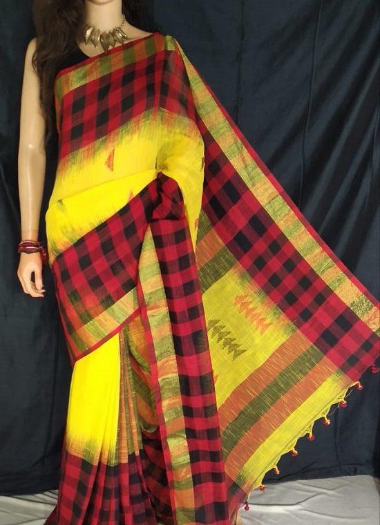 Red Black Check Border Yellow Cotton Saree