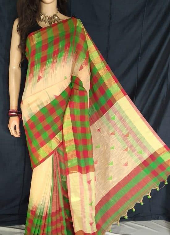 Red Green Check Border Cream Cotton Saree