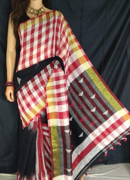 Red White Check Border Black Cotton Saree