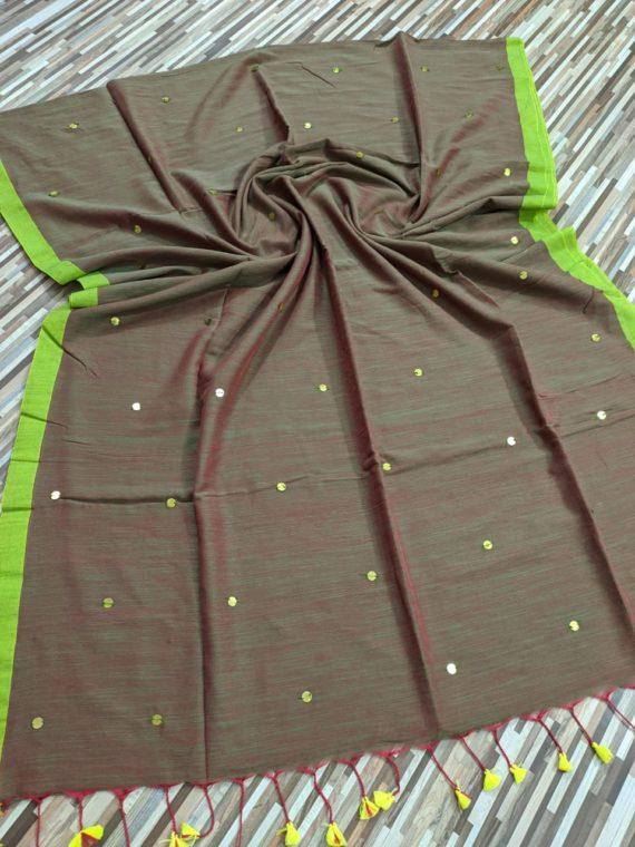 Reddish Green Fusion Pure Cotton Sequin Saree With Green Border