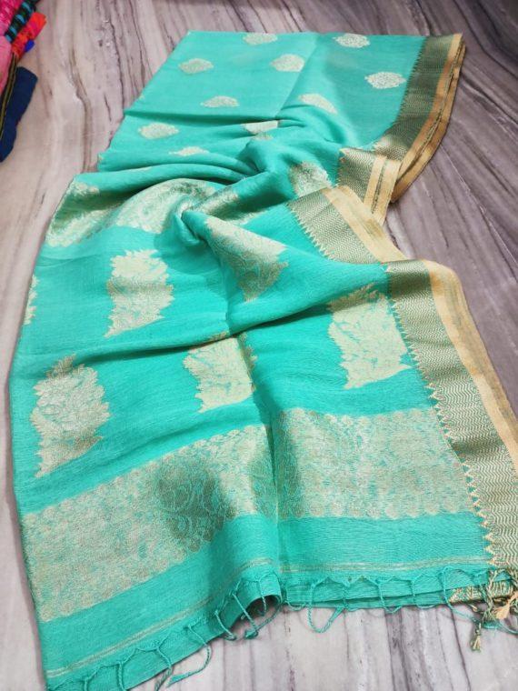 Soothing Blue Linen Handloom Saree with Banarsi Design