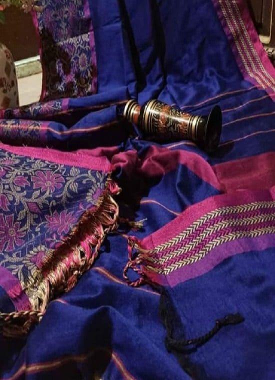 Stunning Blue Begumpuri Design Cotton Saree