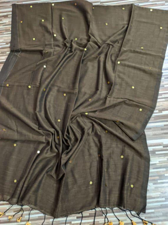 Warm Brownish Grey Pure Cotton Sequin Saree With Dark Shade Border
