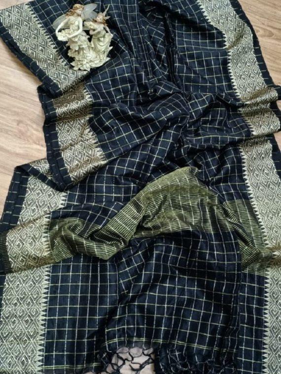 Black Garad Zari Check Handwoven Cotton Silk Saree