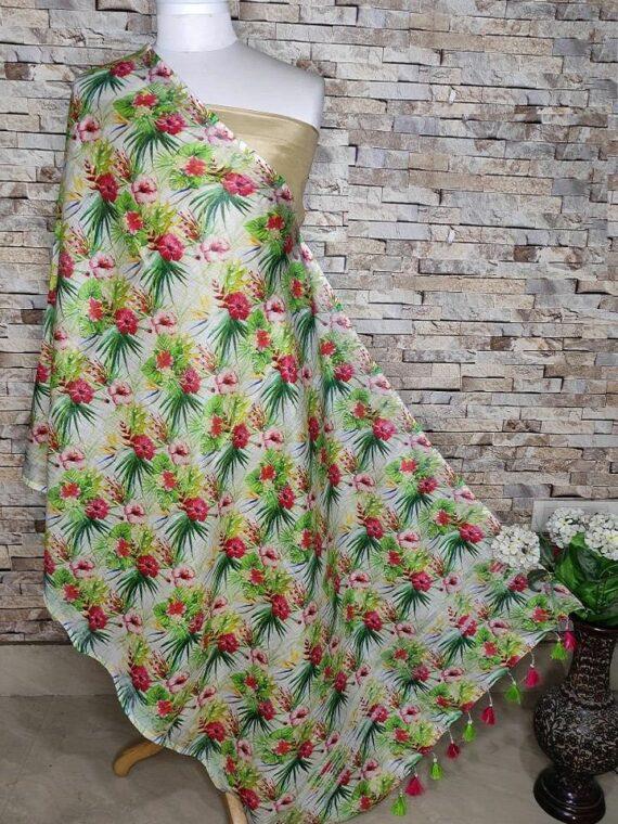 Boon Of Prosperity Feel Floral Design Digital Print Linen Dupatta