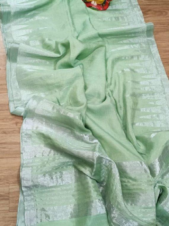 Fascinating Pista Green Silver Temple Border Tissue Garad Silk Saree