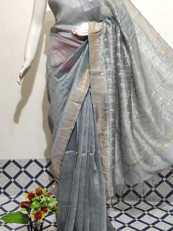 Gorgeous Grey Plain Fletcher Silk By Linen Saree With Designer Pallu