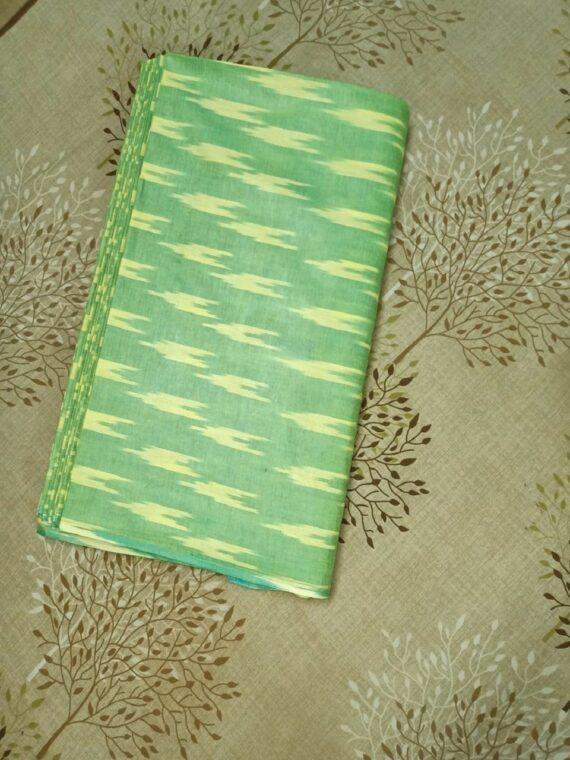Grass Green Yellow Blend Ikkat Cotton Weave Fabric By Meter